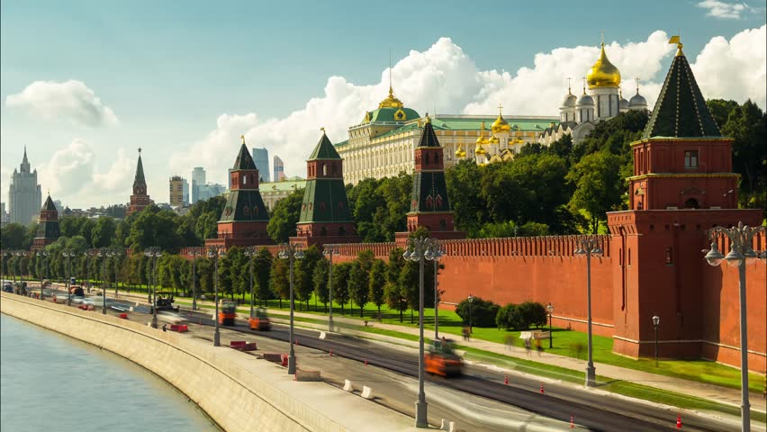 Sunny summer day moscow river bay kremlin panorama 4k time lapse russia | Shutterstock HD Video #23646475