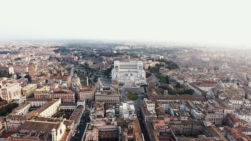 Rome, Italy Cityscape Skyline Aerial View featuring Piazza Venezia and Colosseum 4K    Shutterstock HD Video #23649013