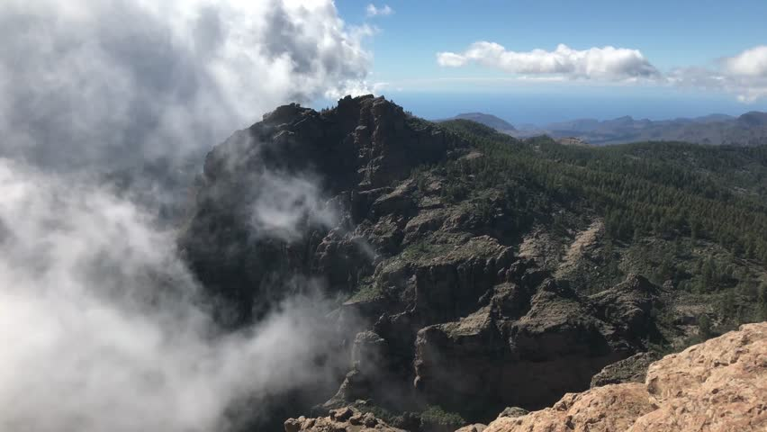 Clouds around Pico de las Nieves the highest peak of the island of Gran Canaria | Shutterstock HD Video #23662972