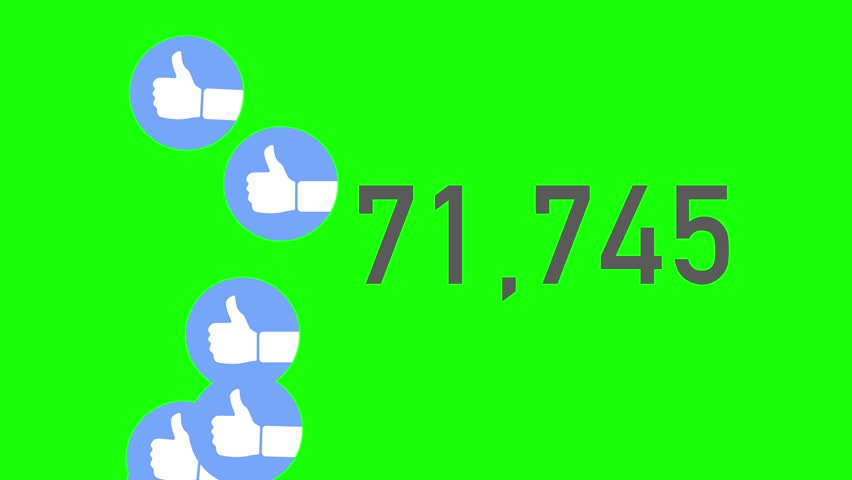 A close up shot of 100,000 likes being counted with thumbs-up icons on a social network page. Green screen.     Shutterstock HD Video #23672101