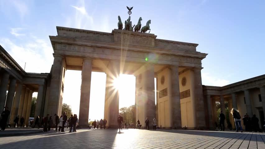 BERLIN, GERMANY - April 22, 2016: People walking past the Brandenburg Gate in Berlin.