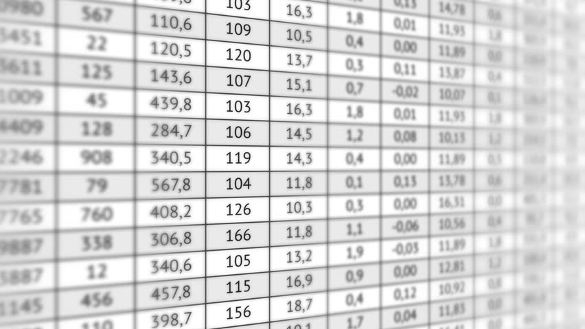 Big table with a lot of numerical data in motion vertically. Business information, analysis of data and different indicators. Looped video | Shutterstock HD Video #23708008