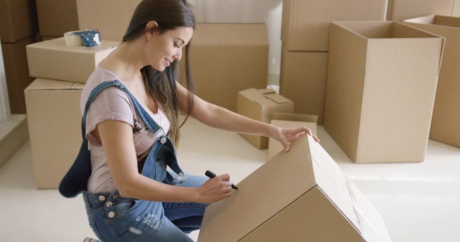 Attractive Woman Moving House and Stock Footage Video (100 ...