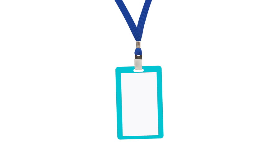 Animation Blank badge with blue neckband on white background Royalty-Free Stock Footage #23742787