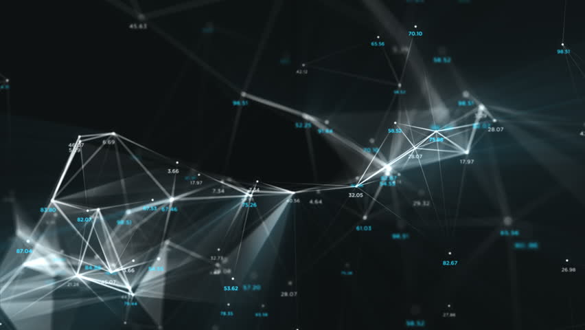 Digital Data Points Network Loop 1B: dark background, rotating flickering white light mesh cloud of connections, random percentage number values in blue. 4K UHD, FullHD, seamless loop.