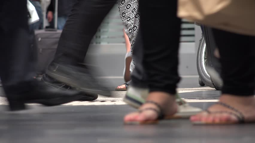 FRANKFURT - GERMANY, JULY 10, 2014, 4K Crowded platform of tourist people pass commuter leg motion, foot movement by day | Shutterstock HD Video #23777551