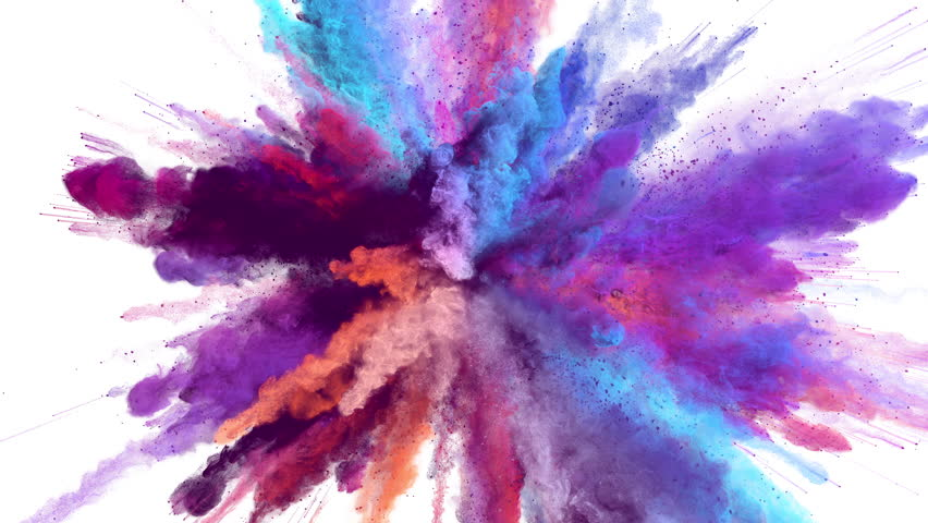 Cg animation of powder explosion with blue, red, orange and violet colors on white background. Slow motion movement with acceleration in the beginning. Has alpha matte. #23786773