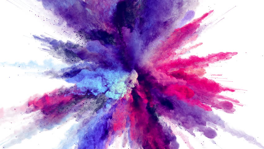 Cg animation of powder explosion with blue, red and violet colors on white background. Slow motion movement with acceleration in the beginning. Has alpha matte.