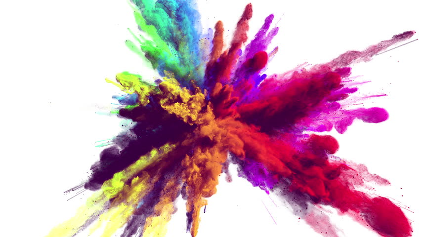 Cg animation of powder explosion with all primary colors on white background. Slow motion movement with acceleration in the beginning. Has alpha matte. | Shutterstock HD Video #23786797