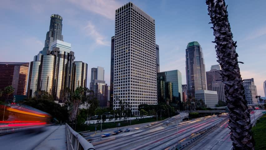 Freeway traffic in downtown Los Angeles. Motion timelapse hyperlapse.