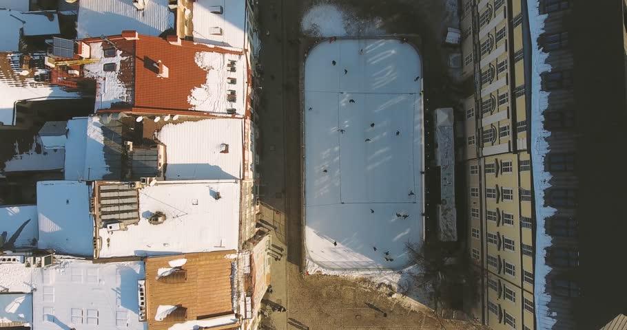 Aerial Old Winter City Lviv, Ukraine. European City. Town hall. Lviv central 4k | Shutterstock HD Video #23805580