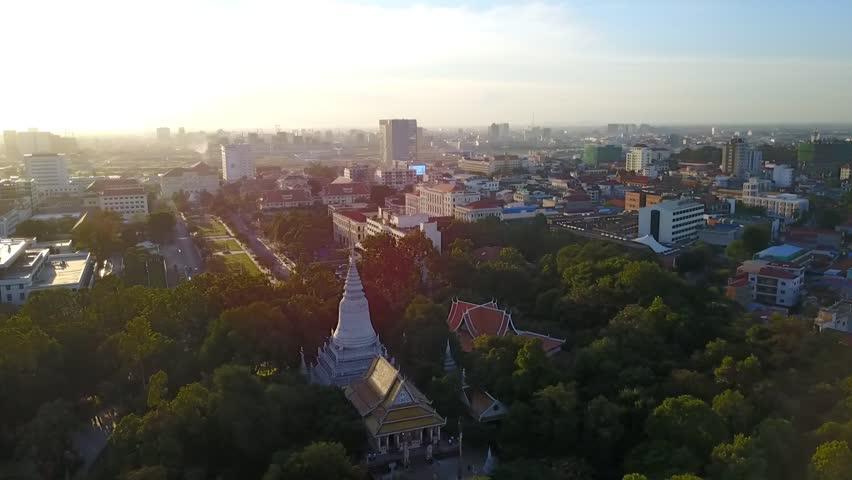 Wat Phnom pagoda in Phnom Penh, The capital of Cambodia Royalty-Free Stock Footage #23812156