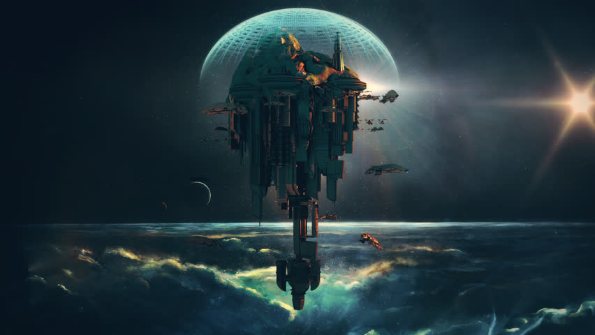 Alien planet or Moon colony with flying spaceship ships, in a futuristic 3D fantasy model for a science fiction animated background. (Seamless loop)