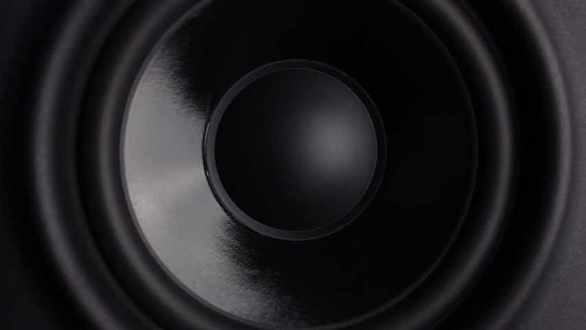 Closeup at moving sub-woofer on studio speaker.  #23837896