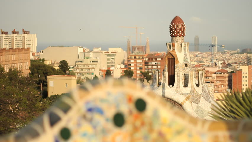 BARCELONA - CIRCA 2012: Barcelona skyline from rooftop of Gaudi building