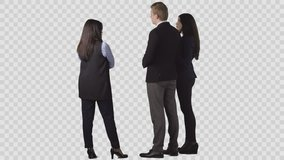 The seller in office clothes is standing near young couple, discussing. Back view. Clip with alpha channel background