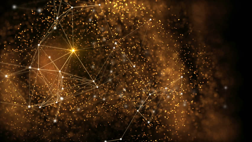Elegant fantasy abstract technology, science and engineering motion background with golden particles and plexus lines in organic motion. Flickering light. Depth of field settings. 3d rendering.   Shutterstock HD Video #23880856