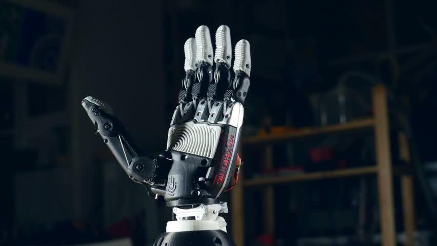 Bionic arm. Innovative robotic hand made on 3D printer. Futuristic technology. #23883196