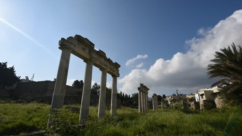 Ancients columns, old town, Kos island, Greece