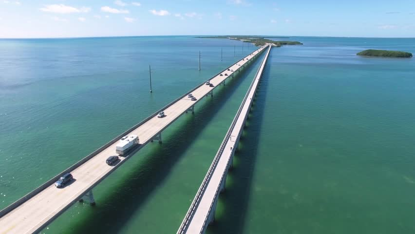 Aerial view along the seven mile bridge of US1 to the florida keys   Shutterstock HD Video #23886118