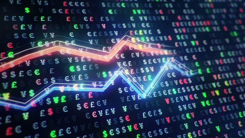 Technological background with growth of charts and graphs on binnary code backdrop. Symbols of business or finance with glowing glass surface. Seamless loop. | Shutterstock HD Video #23971783
