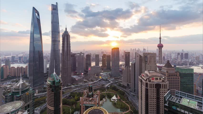 Day to night time lapse of Shanghai skyline and cityscape