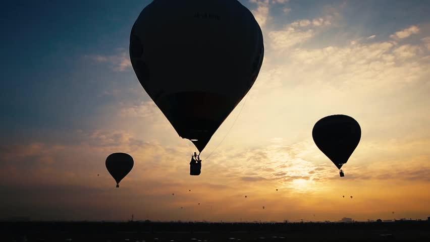 Hot air balloons in beautiful sunrise