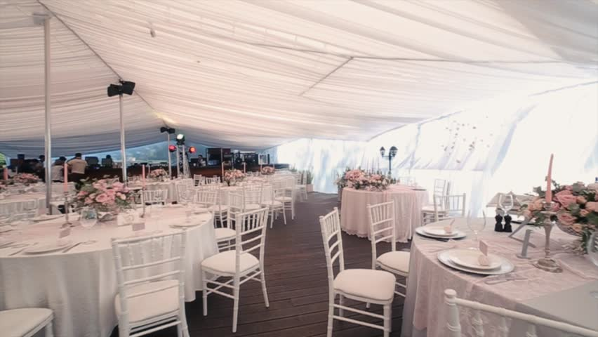 Beautiful Banquet hall under a tent for a wedding reception. #24031573