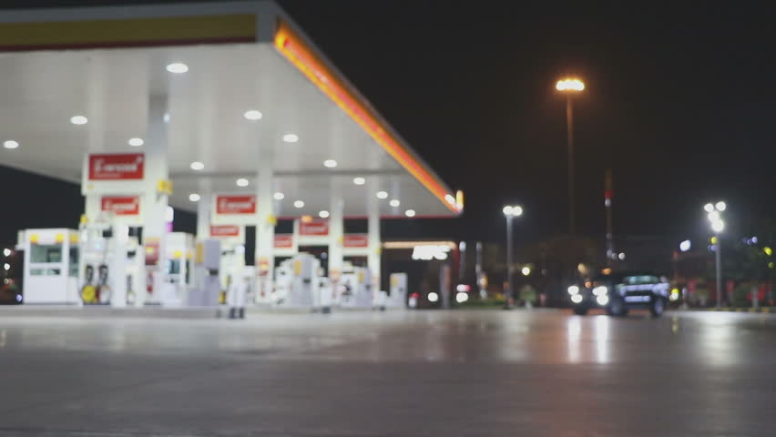 The Atmosphere Lighting Blurred in Gas station at night  | Shutterstock HD Video #24037123