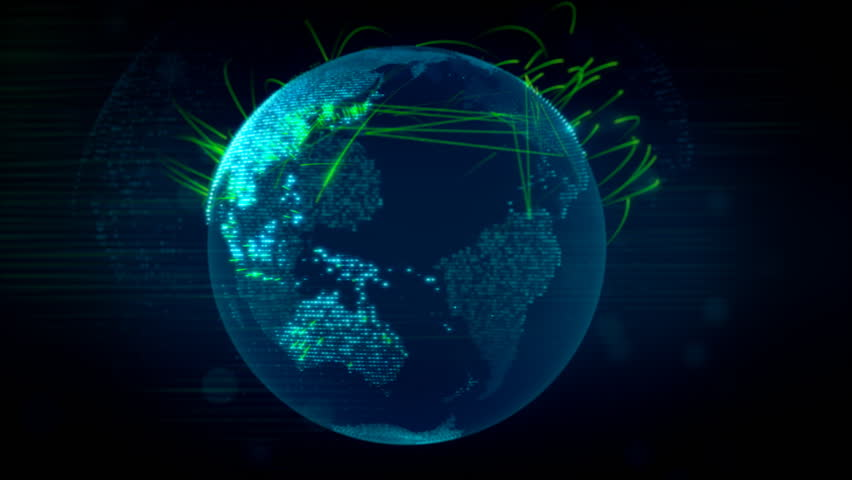 Animated digital global communications and connections on the globe speeding up #24042448