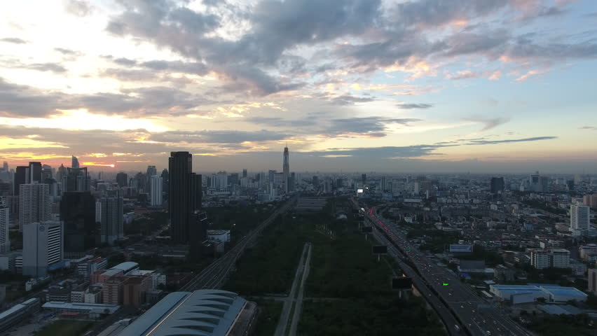 aerial shot of sunset at city skyline Bangkok Thailand #24053443