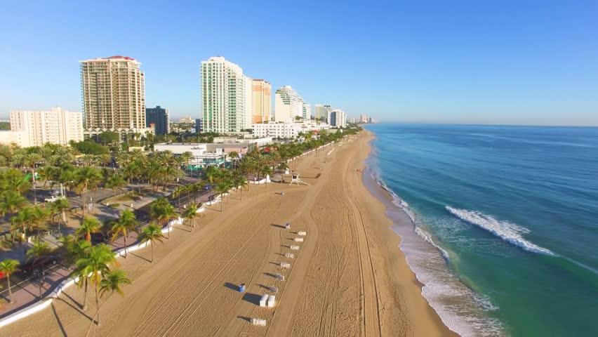 Sunrise at Fort Lauderdale Beach aerial video   Shutterstock HD Video #24058390