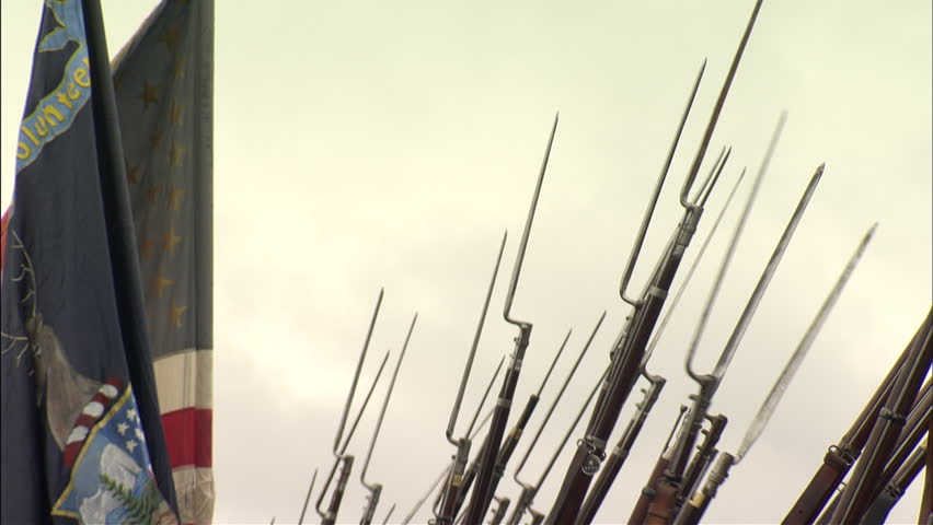 Soldiers with fixed bayonets Correct to the period of 1864 situated in the fall in the eastern theater/Shenandoah valley region. Royalty-Free Stock Footage #24059185