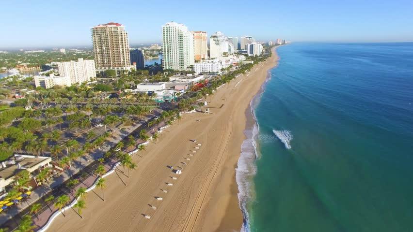 Sunrise at Fort Lauderdale Beach aerial video   Shutterstock HD Video #24077677
