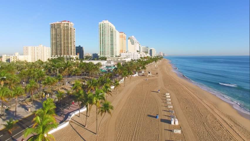 Sunrise at Fort Lauderdale Beach aerial video   Shutterstock HD Video #24077683