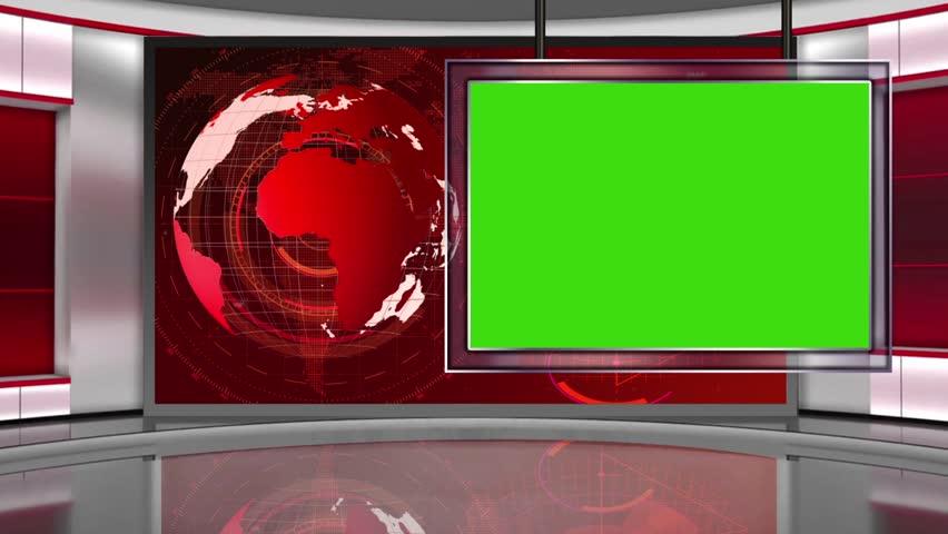 News 5- Broadcast TV Studio Green Screen Background