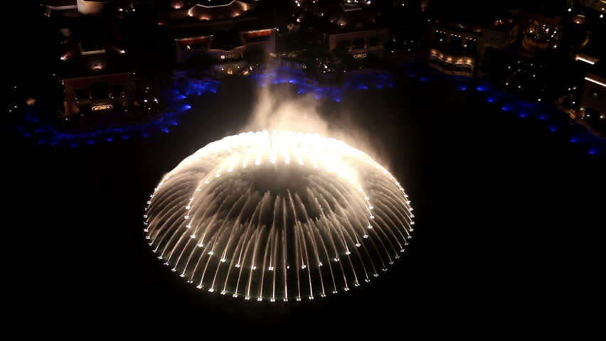 LAS VEGAS, NV - JUNE 6: Bellagio fountains show view from above on June 6, 2012 in Las Vegas. Bellagio fountain is voted #1 attraction in Las vegas by Tripadvisor