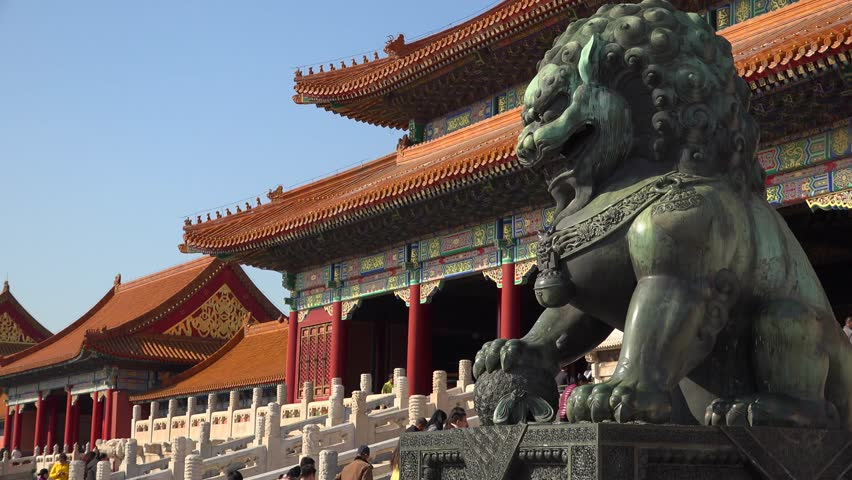 Epic green Chinese Imperial guardian lions. Forbidden city Beijing capital of China. Emperor palace. Old Asian culture. Beautiful summer day, Blue sky. Cinematic 4K. | Shutterstock HD Video #24132208