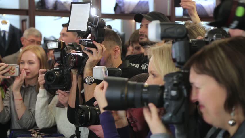 MOSCOW, RUSSIA – March, 24: Paparazzi are shooting the stars