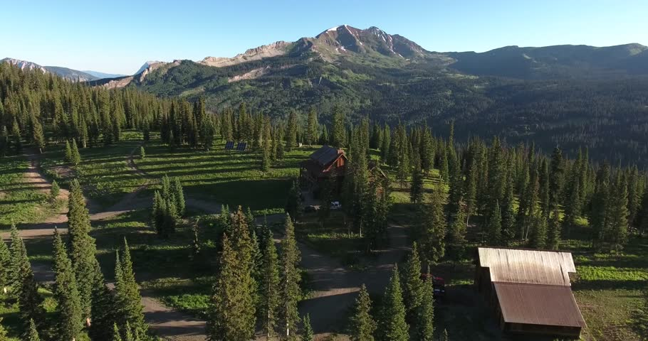 Fly to Cabin Orbit,Rocky Mountains Reveal Fall colors Lake Reflection, Off road, rzr Wildlife, Foliage SHORT Aerial, 4K, 32s, 4of102,