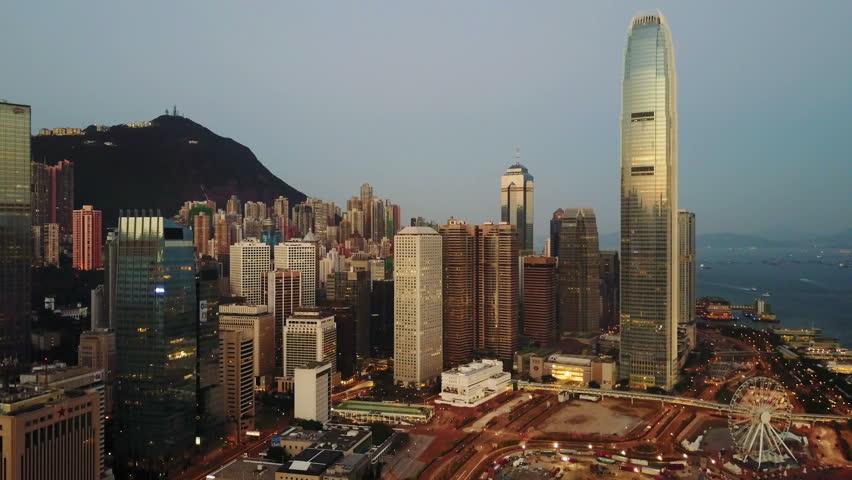 Aerial view of Hong Kong city at early morning time.