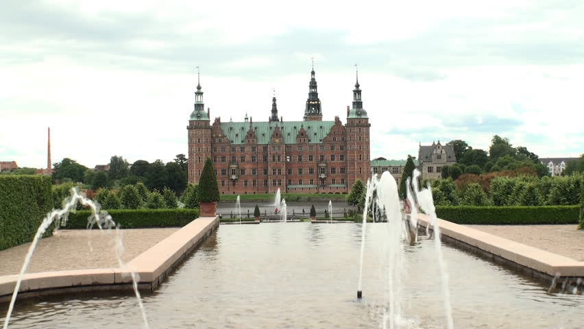 Fountains in the gardens of Frederiksborg palace, one of the homes of the Danish royal family