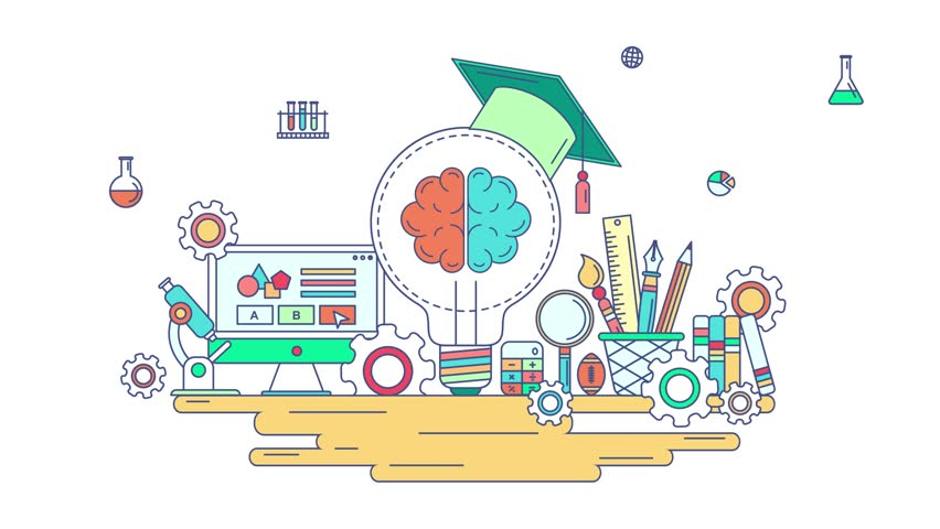 Animation flat line knowledge and creative education graphic design. Flat creativity school and stationary sign and symbol education icon with isolated background concept in 4k