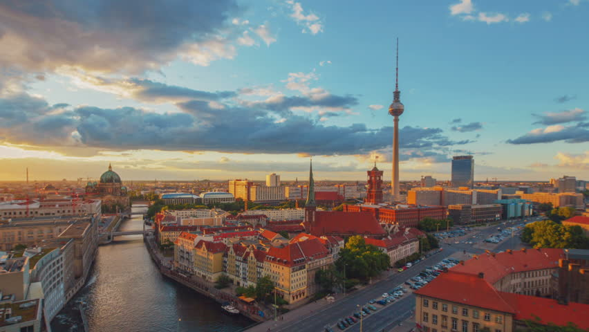 Sunset at Berlin, Germany Timelapse