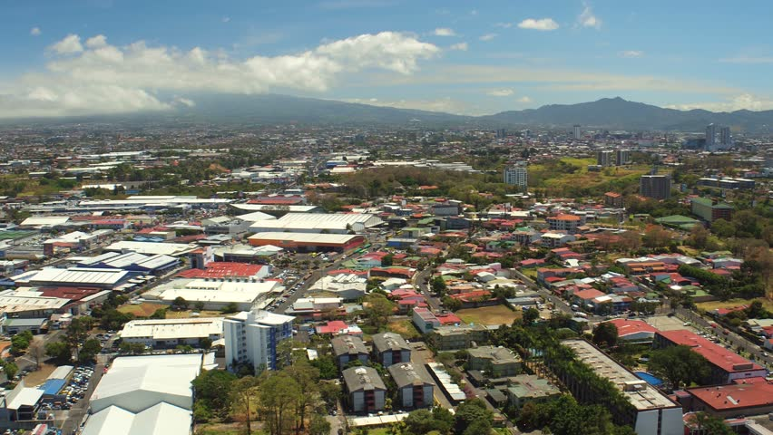 San Jose Costa Rica Aerial v1 Flying over Robledal area panning with cityscape views.