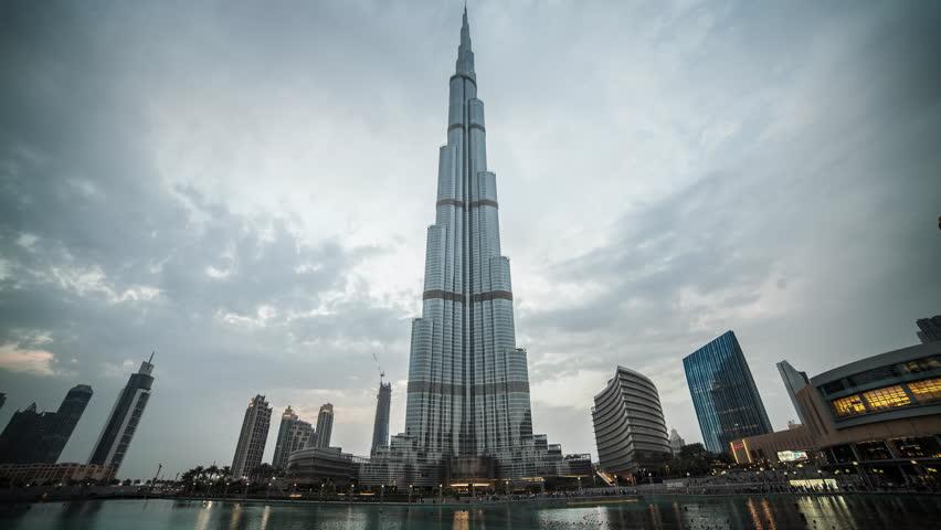Dubai - Day to night time lapse of Burj Khalifa in the Dubai Mall complex