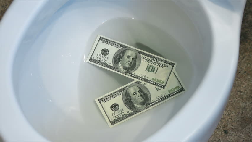 High quality video of flushing dollars in toilet bowl in real 1080p slow motion 120fps