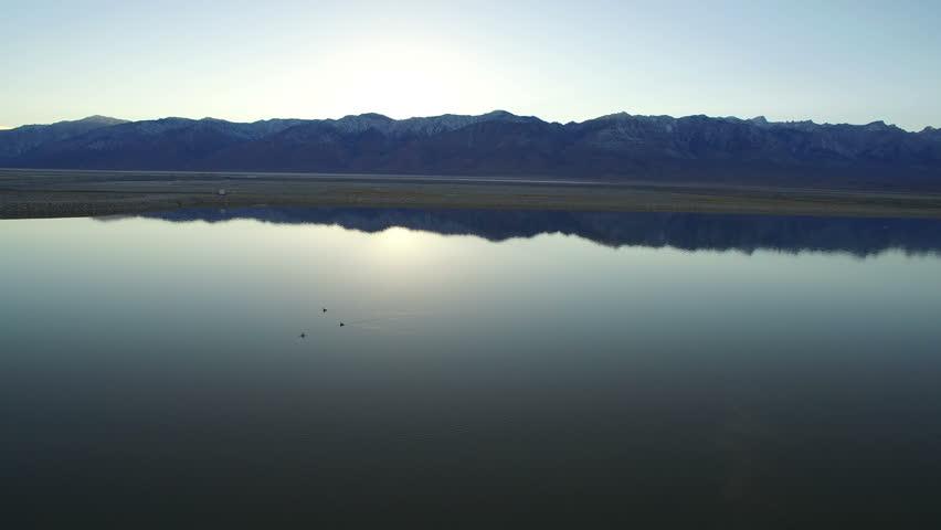 Owens Lake Aerial Sunset 09 Sierra Nevada Mountains #24181444