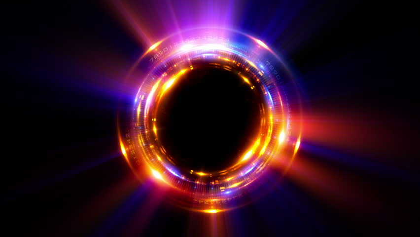 Abstract neon background. Shine ring. Halo around. Sparks particle.  Space tunnel. LED color ellipse. Glint glitter. Shimmer loop motion.  Empty hole. Glow portal. Magic ball. Slow spin. Bright disc.