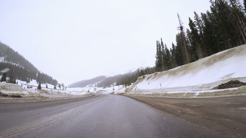 POV point of view - Driving over Loveland Pass in the winter. | Shutterstock HD Video #24195799